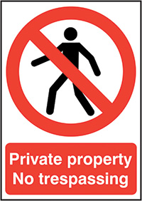 Private Property No Trespassing 210x148mm 1.2mm Rigid Plastic Safety Sign