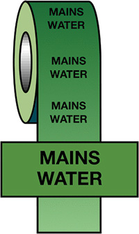 50mmx33m Mains Water BS Pipeline Marking   Identification Tape