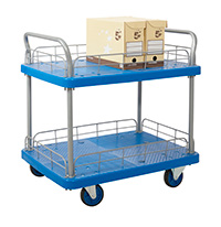 Proplaz Blue  Platform Trolley - Two Tier Trolley With Wire Surrond