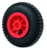 Black Pneumatic Tyre / Red Polyprop. Ctr Wheel - 220mm - Plain Bore