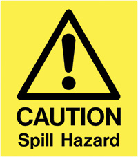 A Board - Caution Spill Hazard