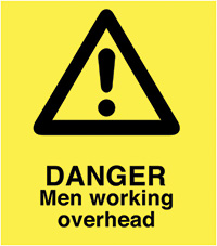 A Board - Danger Men Working Overhead