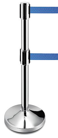 Belt Barriers - Double Retractable Blue Belt Barrier
