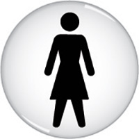 Ladies symbol Domed acrylic sign 60mm Acrylic Safety Sign