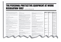 840x570mm The Personal Protective Equiptment At Work Regulation 1992 Wallchart