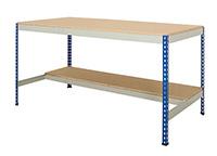 Rivet Half Undershelf Workbench. 600Kg - Chipboard Top