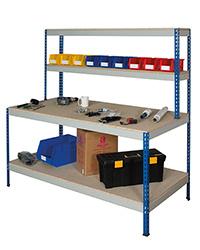 Rivet Workstation - Full Undershelf. Chipboard Top Blue Uprights and Grey Beams