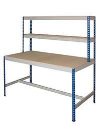 Rivet Workstation - T-Bar. 600Kg Chipboard Top Blue Uprights  Grey Beams