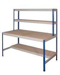 Rivet Workstation - Half Undershelf. 600Kg Chipboard Top Blue Uprights  Grey Beams
