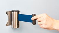 Belt Barriers - Wall Mounted Retractable Blue Belt Barrier