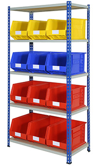 J Rivet Shelving Bay 5 Shelves and 12 Bins