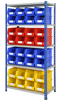 J Rivet Shelving Bay 5 Shelves and 32 Bins