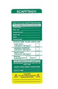 Scafftag Standard Insert Pack of 50