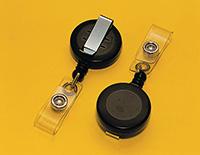 Retractable Badge/Key Reel - Black Plastic Medium-Duty Reel