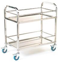 Stainless Steel Shelf Trolley - 2 Shelf with Rod Surround