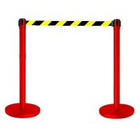 Tensabarrier Advance Barrier System - Black Post with Yellow   Black Webbing