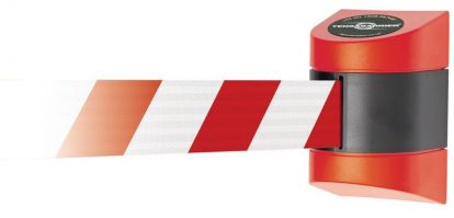 Wall mount Tensabarrier - 4.6m Red   Black with Red   White Webbing