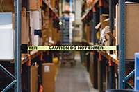 Economy Wall Mount Barrier Unit -  Caution Do Not Enter  Webbing