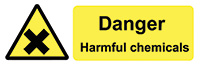 Danger Harmful Chemicals  50x150mm Self Adhesive Vinyl Safety Sign Pack of 6
