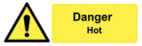 Danger Hot  50x150mm Self Adhesive Vinyl Safety Sign Pack of 6