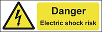 Danger Electric Shock Risk  50x150mm Self Adhesive Vinyl Safety Sign Pack of 6