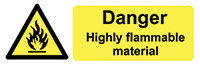 Danger Highly Flammable Matieral  50x150mm Self Adhesive Vinyl Safety Sign Pack of 6