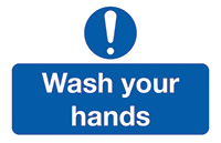 Wash Your Hands  58x90mm Self Adhesive Vinyl Safety Sign Pack of 6