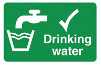 Drinking Water  58x90mm Self Adhesive Vinyl Safety Sign Pack of 6