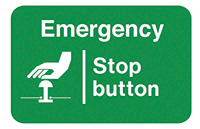 Emergency Stop Button  58x90mm Self Adhesive Vinyl Safety Sign Pack of 6