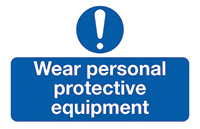 Wear Personal Protective Equipment  87x135mm Self Adhesive Vinyl Safety Sign Pack of 6