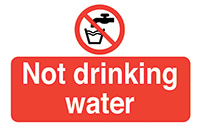 Not Drinking Water  58x90mm Self Adhesive Vinyl Safety Sign Pack of 6
