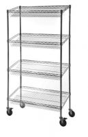 4 Level Chrome Wire Sloped Shelf Display Trolley