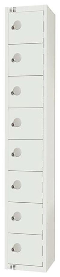 8 Compartment Locker - White - 1800 x 300 x 300mm