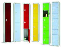8 Compartment Locker - Red - 1800 x 300 x 300mm