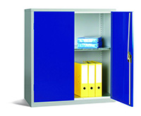 Workplace Storage Cupboard - With Rail - 2 Doors - Dark Blue - 1000 x 915 x 457mm  HxWxD