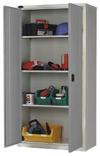 Workplace Storage Cupboard - With Rail - 2 Doors - Grey - 1830 x 915 x 457mm  HxWxD