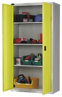Workplace Storage Cupboard - With Rail - 2 Doors - Yellow - 1830 x 915 x 457mm  HxWxD