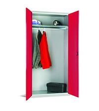 Workplace Storage Cupboard - No Rail - 1 Door - Red - 1830 x 915 x 457mm  HxWxD