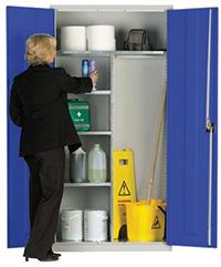Workplace Storage Cupboard - Hanging Rail - 2 Doors - Dark Blue - 1830 x 915 x 457mm  HxWxD
