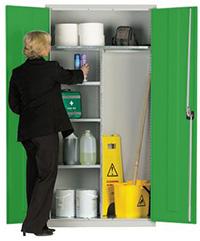 Workplace Storage Cupboard - Hanging Rail - 2 Doors - Green - 1830 x 915 x 457mm  HxWxD