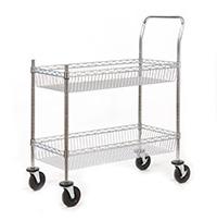 Chrome Plated Wire Tray Trolley - 2 Shelf