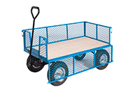 Platform Truck With Puncture Proof Reach Compliant Wheels - Mesh Sides  Ply Base
