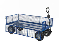 Industrial General Purpose Truck MESH BASE/SIDES - 1500x750x360 - Puncture Proof Whls