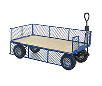 Industrial General Purpose Truck PLY BASE  MESH SIDES - 1500x750x360 - Puncture proof Whls