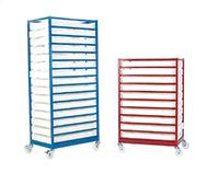 Mobile Tray Racks - C/W Trays  10 Tray  Painted Models - C/W Trays