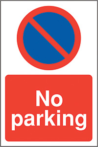 No parking  with symbol  400x300mm 2mm Polycarbonate Safety Sign