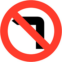 No left turn Class 1 Reflective Traffic Sign  Wall  600mm Reflective Safety Sign