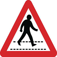 600mm Pedestrian Crossing Class 1 Reflective Traffic Sign  Wall