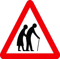 Elderly Crossing Class 1 Reflective Traffic Sign  Post  600mm Reflective Safety Sign