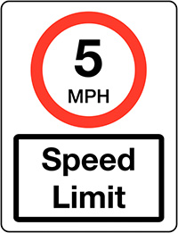 5mph Speed Limit Class 1 Reflective Traffic Sign  Wall  600x450mm Reflective Safety Sign